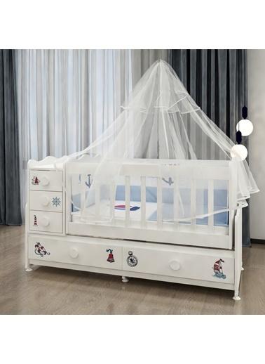 Garaj Home Garaj Home Melina Denizci Uyku Setli Beşik Kombini / Uyku Seti Beyaz Beyaz